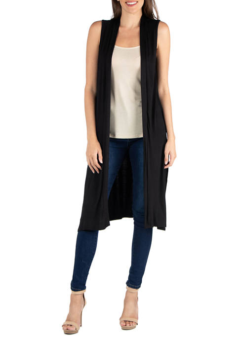 24seven Comfort Apparel Womens Sleeveless Long Cardigan