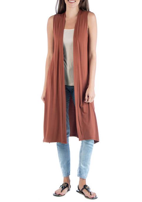Womens Sleeveless Long Cardigan