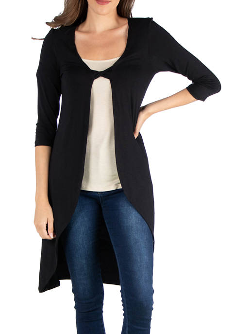 24seven Comfort Apparel Womens 3/4 Sleeve Cardigan