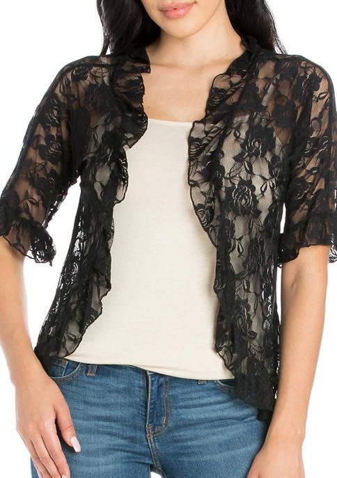 24seven Comfort Apparel Womens Ruffle Black Lace Bolero