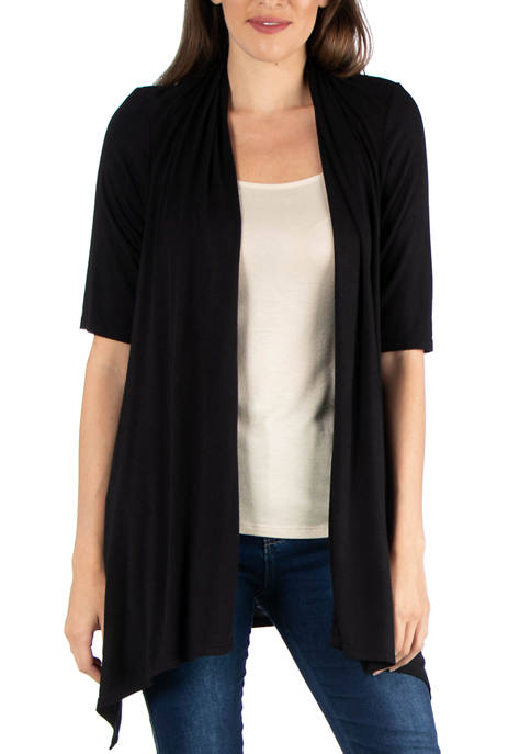 24seven Comfort Apparel Womens Loose Fit Open Front