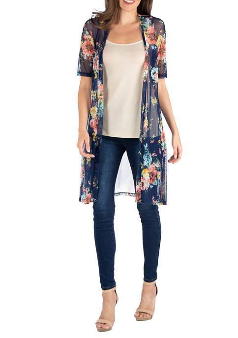 24seven Comfort Apparel Womens Sheer Navy Floral Kimono