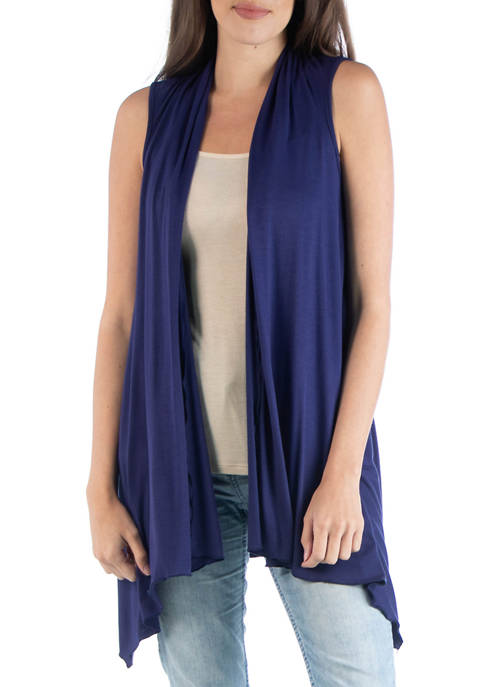 24seven Comfort Apparel Womens Draped Sleeveless Cardigan
