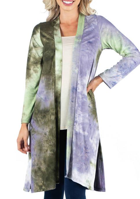 Womens Open Front Knee Length Tie Dye Cardigan