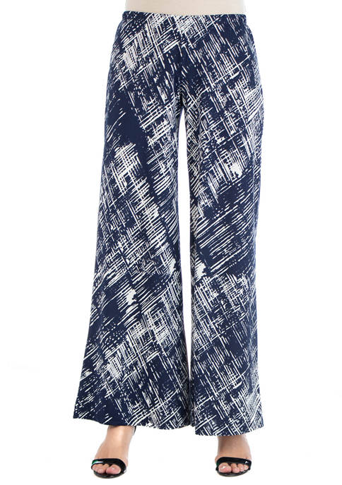 24seven Comfort Apparel Womens Navy Geometric Palazzo Pants