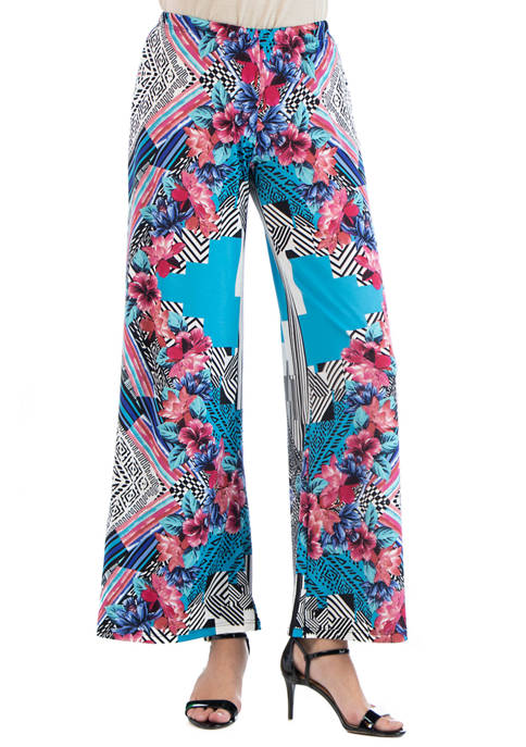 24seven Comfort Apparel Womens Floral Palazzo Pants