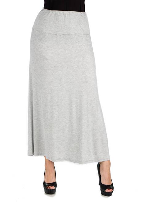 Womens Elastic Waist Solid Color Maxi Skirt