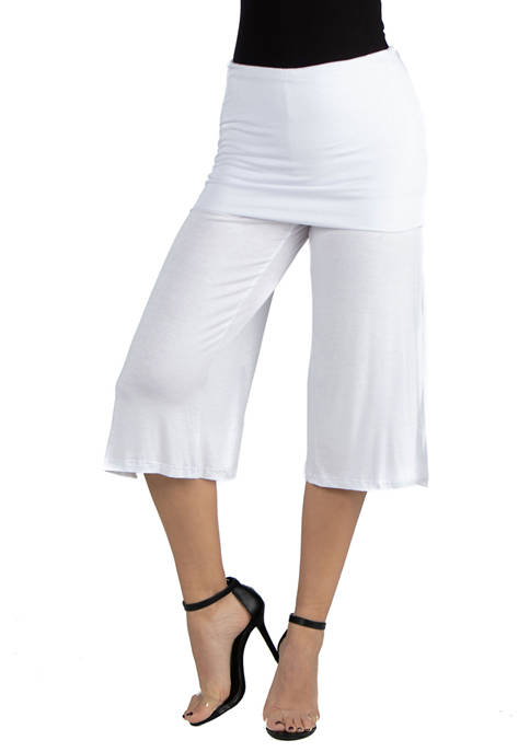 24seven Comfort Apparel Womens Cropped Straight Pants