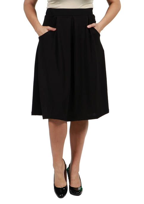 Womens Classic Knee Length Black Skirt with Pockets