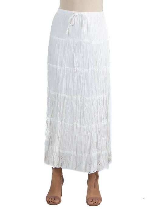 24seven Comfort Apparel Womens Embroidered Maxi Skirt