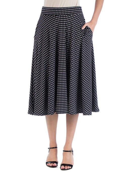 Womens Polka Dot A Line Midi Skirt