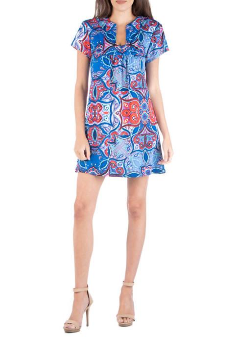 24seven Comfort Apparel Womens Geometric Mini Dress
