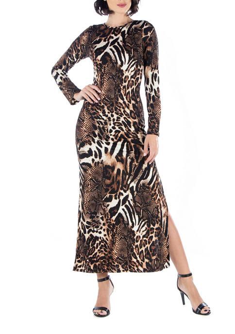 24seven Comfort Apparel Womens Cheetah Print Long Sleeve