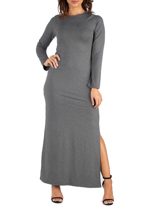 24seven Comfort Apparel Womens Long Sleeve Side Slit