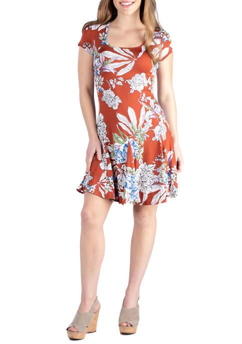 24seven Comfort Apparel Womens Short Sleeve Floral Dress