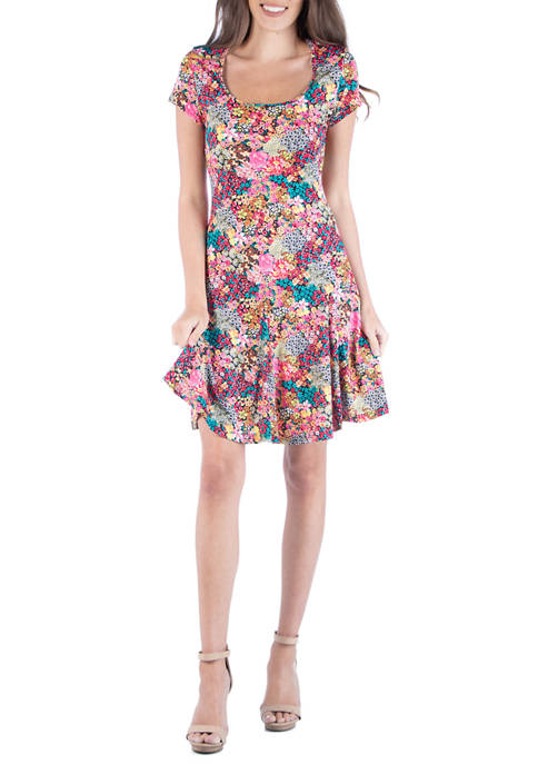 Womens Pink Floral Mini Dress