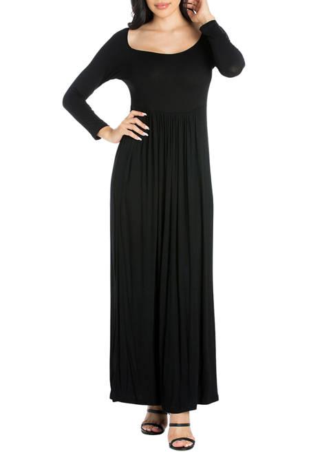 24seven Comfort Apparel Womens Empire Waist Long Sleeve