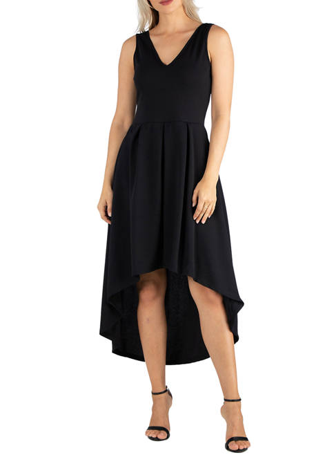24seven Comfort Apparel Womens Sleeveless Fit-and-Flare High Low