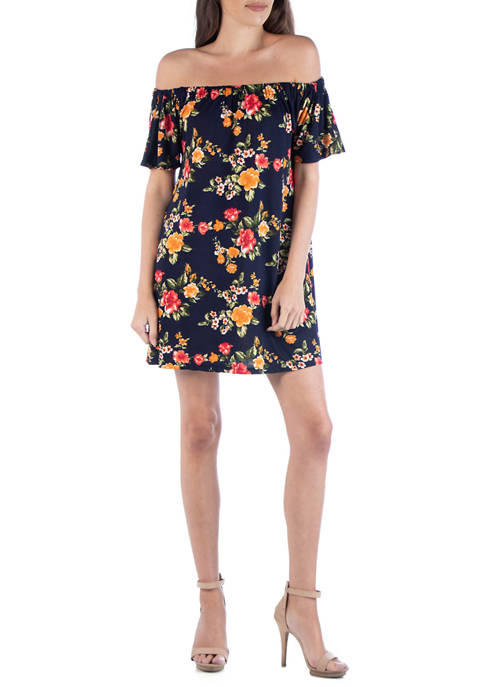 24seven Comfort Apparel Womens Floral A-Line Mini Dress
