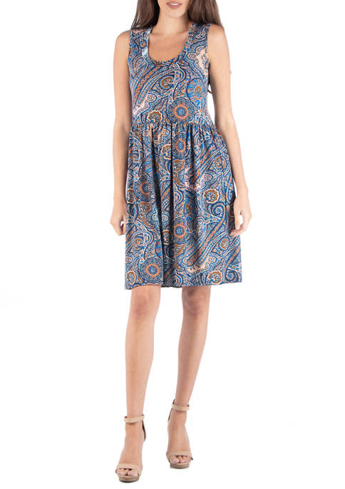 24seven Comfort Apparel Womens Paisley Sleeveless Dress