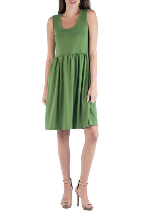 24seven Comfort Apparel Womens Sleeveless A Line Dress