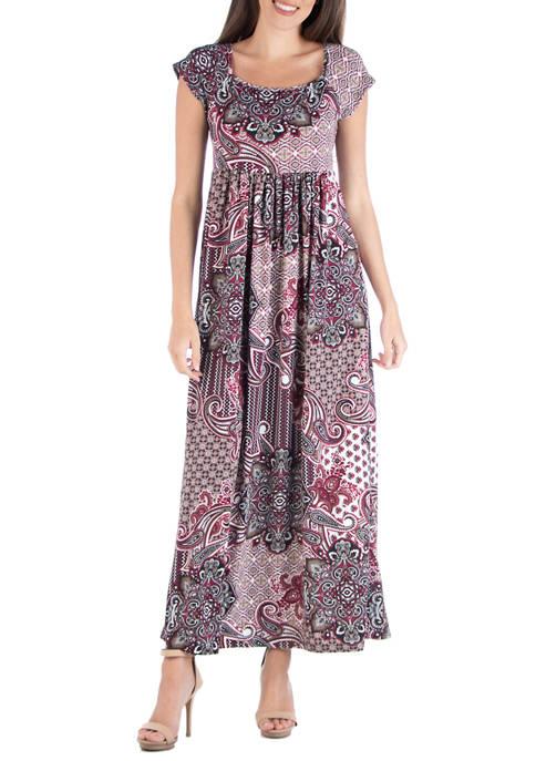 Womens Scoop Neck Paisley Maxi Dress
