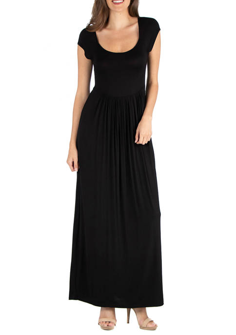 24seven Comfort Apparel Womens Maxi Dress with Round