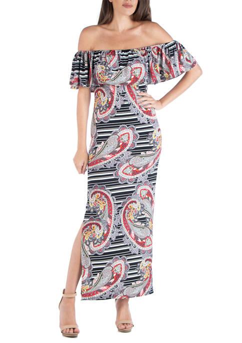 24seven Comfort Apparel Womens Paisley Stripe Maxi Dress