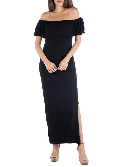 24seven Comfort Apparel Womens Off-the-Shoulder Maxi Dress