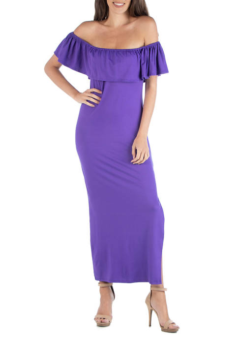 24seven Comfort Apparel Womens Off-the-Shoulder Maxi Dress