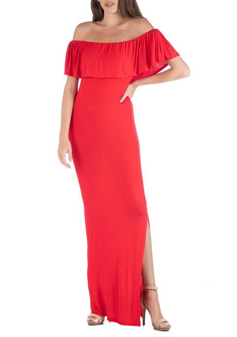 Womens Off-the-Shoulder Maxi Dress