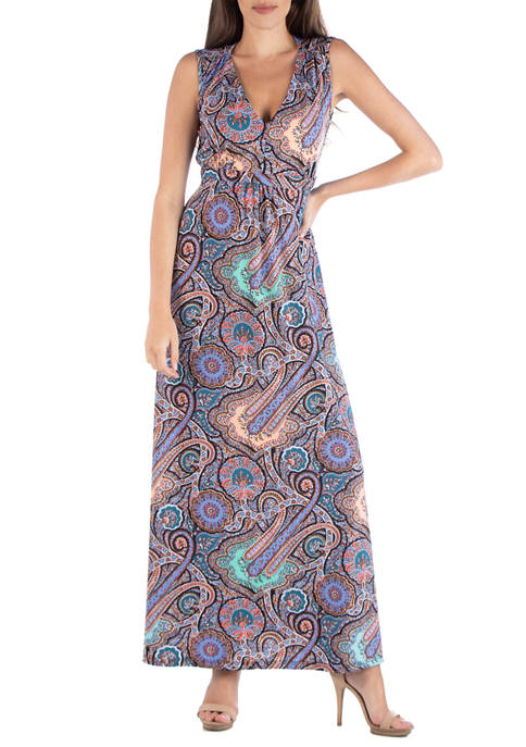 24seven Comfort Apparel Womens Paisley Maxi Dress