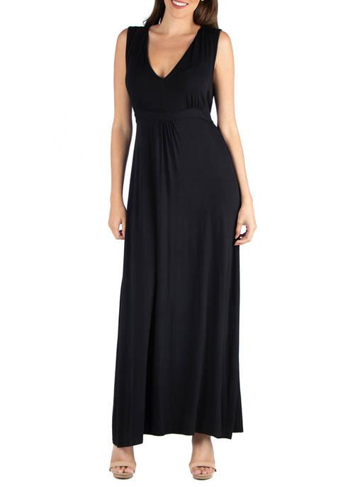 24seven Comfort Apparel Womens V-Neck Sleeveless Maxi Dress