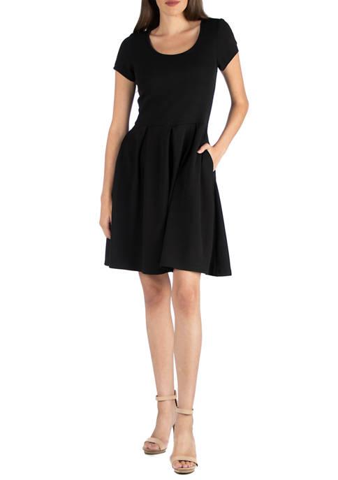 24seven Comfort Apparel Womens Knee Length Cap Sleeve