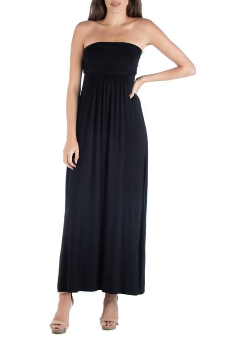 24seven Comfort Apparel Womens Strapless Maxi Dress