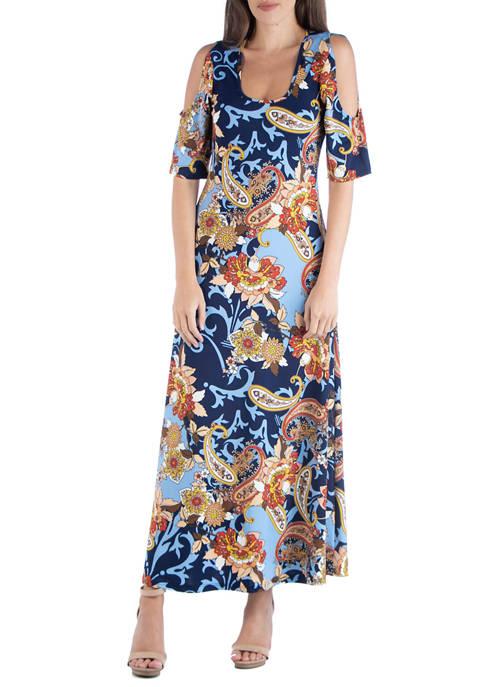 24seven Comfort Apparel Womens Scoop Neck Maxi Dress