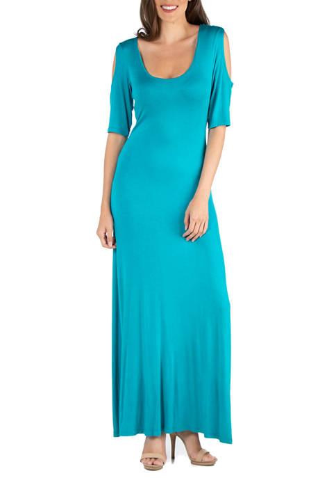 24seven Comfort Apparel Womens Open Shoulder Maxi Dress