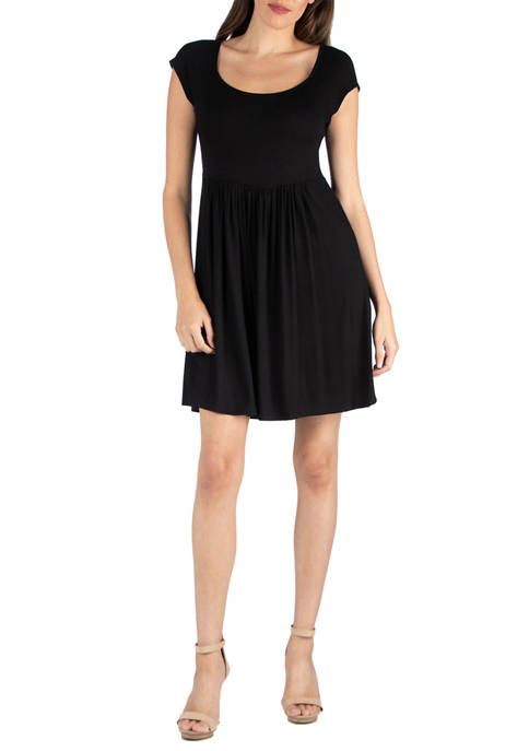 24seven Comfort Apparel Womens Scoop Neck Babydoll Dress