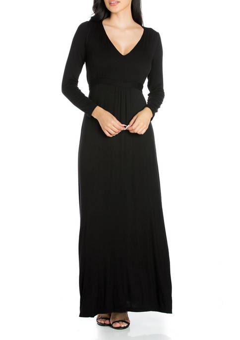 24seven Comfort Apparel Womens Elegant Floral Mauve Long
