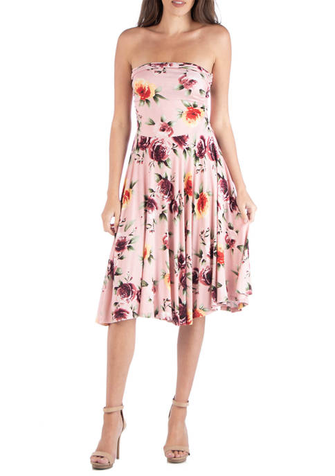 24seven Comfort Apparel Womens Floral Strapless Midi Dress