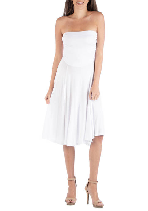 24seven Comfort Apparel Womens Strapless Midi Dress