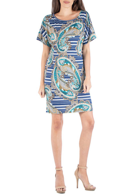 24seven Comfort Apparel Womens Blue Paisley T-Shirt Dress