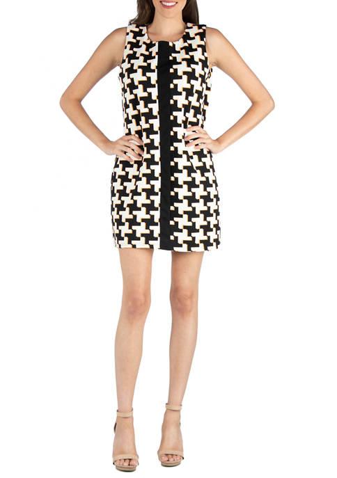 24seven Comfort Apparel Womens Geometric Sleeveless Dress