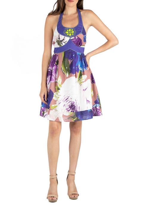 24seven Comfort Apparel Womens Floral Print Halter Dress