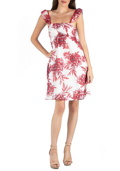 24seven Comfort Apparel Womens Red Sleeveless A-Line Dress