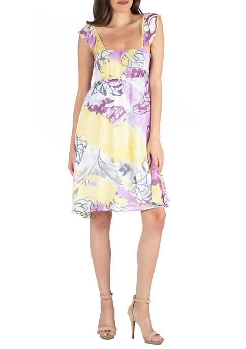 24seven Comfort Apparel Womens Ruffle A-Line Dress