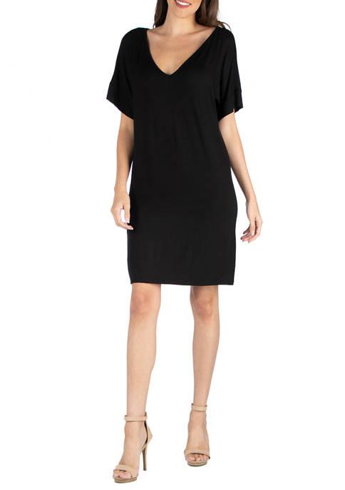 24seven Comfort Apparel Womens V-Neck T-Shirt Dress