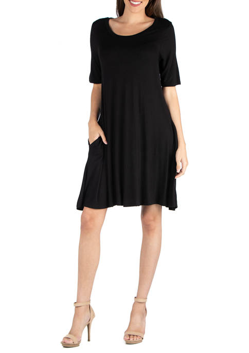 24seven Comfort Apparel Womens T-Shirt Dress with Pockets