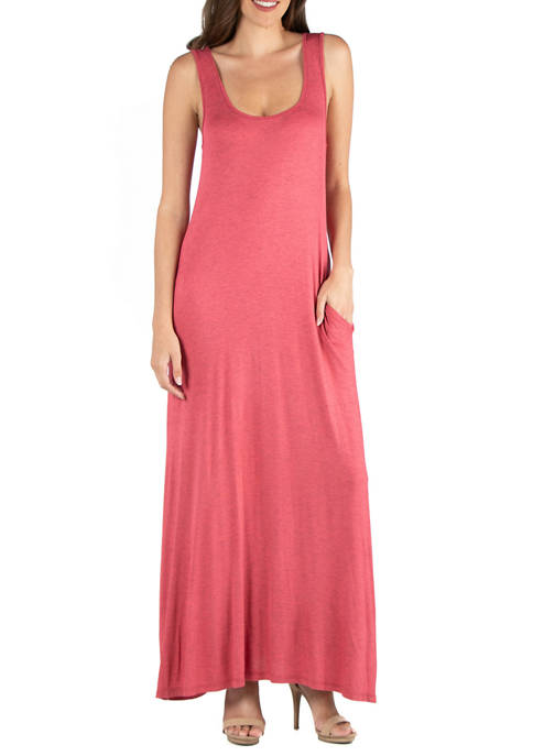 Womens Scoop Neck Sleeveless Maxi Dress