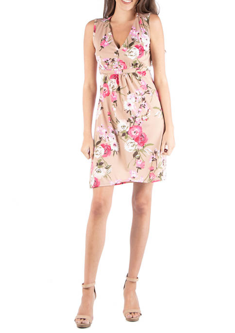 24seven Comfort Apparel Womens Floral Cocktail Dress